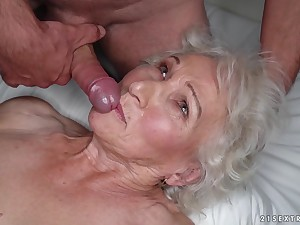 Granny Norma cheats on her lethargic husband with young stud