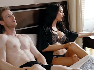Brunette MILF Silvia Saige gets will not hear of pussy fucked hard on the bed