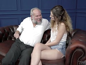 Curly fresh gal Candice Demelzza rides strong cock of old fat gay blade