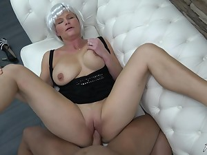 MILF uses her professional blowjob skills on touching make him finish