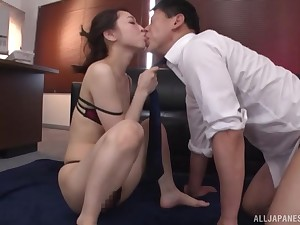 Oiled up Japanese copyist Kase Kanako rides her boss in the office