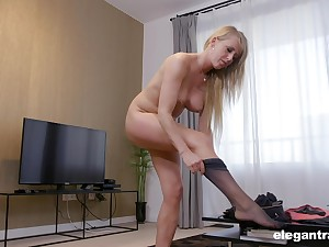 Blonde mature office slut Cecilia rides will not hear of boss's dick