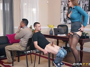 Pine haired secretary Ivy Secret fucks her hung boss up ahead office