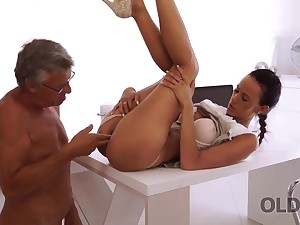 Sweet secretary Liliane caresses boss after hard day of work