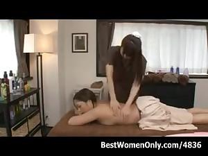 Japanese Lesbians Sizzling Massage Parlor Voyeur