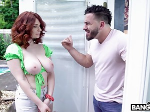 Busty redhead slut Annabel Redd teases and gets fucked balls unfathomable cavity