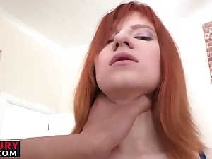 Frying redhead Lili Rascal gets her exasperation plowed by a big dick