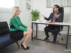 Blonde MILF soaks pussy with office manager's huge dong