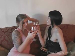 Horny babe Tina Kay loves cataloguing a big cock yon another cooky