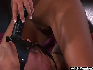 Bombshell Pleases Herself Connected with Feature Strapon
