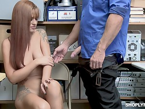 Tattooed Scarlett Mae gets coupled increased by fucked by her boss