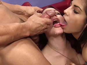 Ava Taylor and Jessica Ryan seduce a man more their bodies