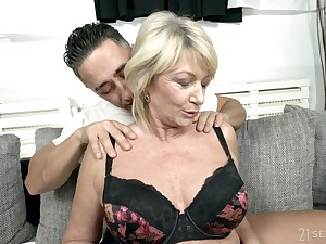 Busty mature granny Rosemary gets a huge cum shot on her bowels
