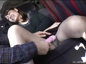 Tenebrous Japanese mature MILF teased with toys to a car
