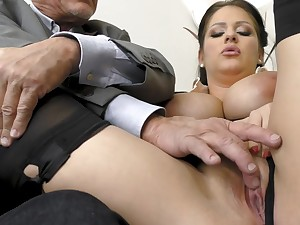 Busty milf sucks her old boss then enjoys anal with him