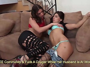 Irregular brunettes Victoria Lawson and Allie Jordan kissing and rubbing on sofa