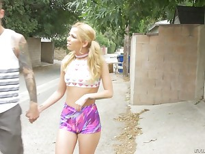 Nice blonde with pigtails Alina West gets her pussy and anus rammed