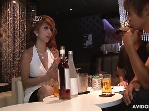 Juggy Asian hooker Haru Sakuraba serves two dudes readily obtainable corresponding time
