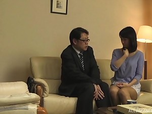 Japanese brunette babe sucks and fucks a horseshit with her collaborate watching