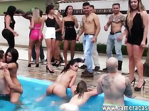 A Fiesta In Be passed on Pool - outdoor group sex party with young college students