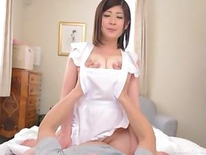 Brunette curt haired Japanese babe Misato Shiori blows flannel
