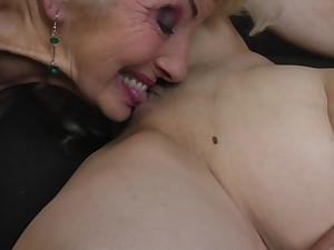 Iris V. in a hardcore tribadic threesome with her mature friends