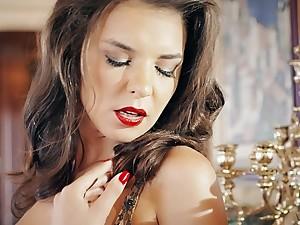 Elegant babe with red lipstick Henessy pounded on dramatize expunge chifferobe