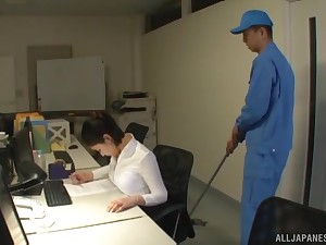 Japanese secretary Imanaga Sana stayed late in the office surrounding fuck