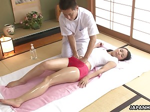 Asian babe in muddy T-shirt Ichika Aimi gets her pussy fucked and creampied