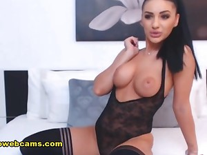 Very Busty Disgraceful Haired Lady Beauty Strips On Her Webcam Show