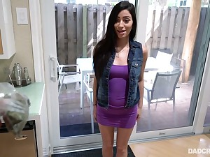 Brunette Jasmine Vega gives a great POV blowjob to her horny step daddy