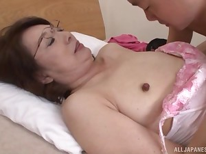Adult Japanese near glasses stripped, fed cock together with pounded prebendary