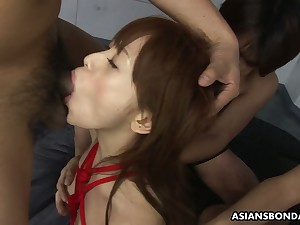 Shibari Asian piece of baggage Miina Yoshiwara gets her pussy fucked and creampied