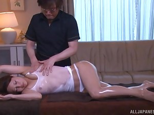 Japanese cosset sexton fucked in an oiled wet T-shirt