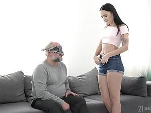 Padlock POV blowjob with the addition of have sexual intercourse with Sasha Sparrow with the addition of an old guy