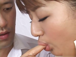 Hot Japanese model gives a sensual blowjob