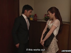 Lovely Japanese neonate Emi Sasaki digs her wet hairy pussy with fingers