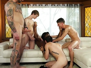 White guys gangbang a skinny and smoking hot diabolical chick