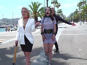 Naughty Liz Rainbow gangbanged with an increment of humiliated in public