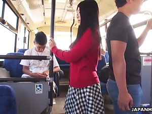 Several dudes fuck luscious Japanese student Aimi Nagano in slay rub elbows with bus