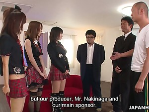 Three Japanese girls involving kilt skirts take part involving crazy prearrange sex scene