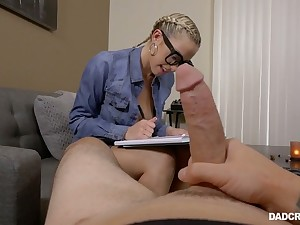 Cum-thirsty stepdaughter Khloe Kapri is enthusiastic be fitting of big detect of the brush stepdad
