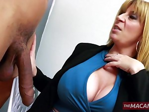 Experienced blonde serves fresh cock with her full-grown holes