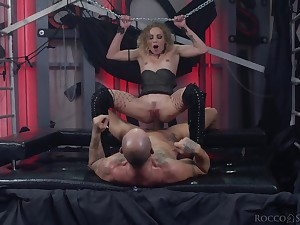 Slave girl rides slay rub elbows with big rub in until it cums inside her